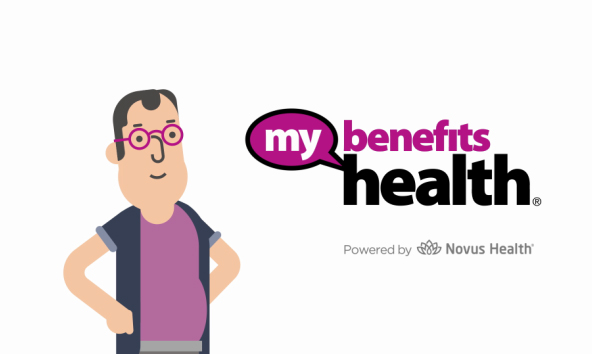 a man beside MyBenefits Health logo